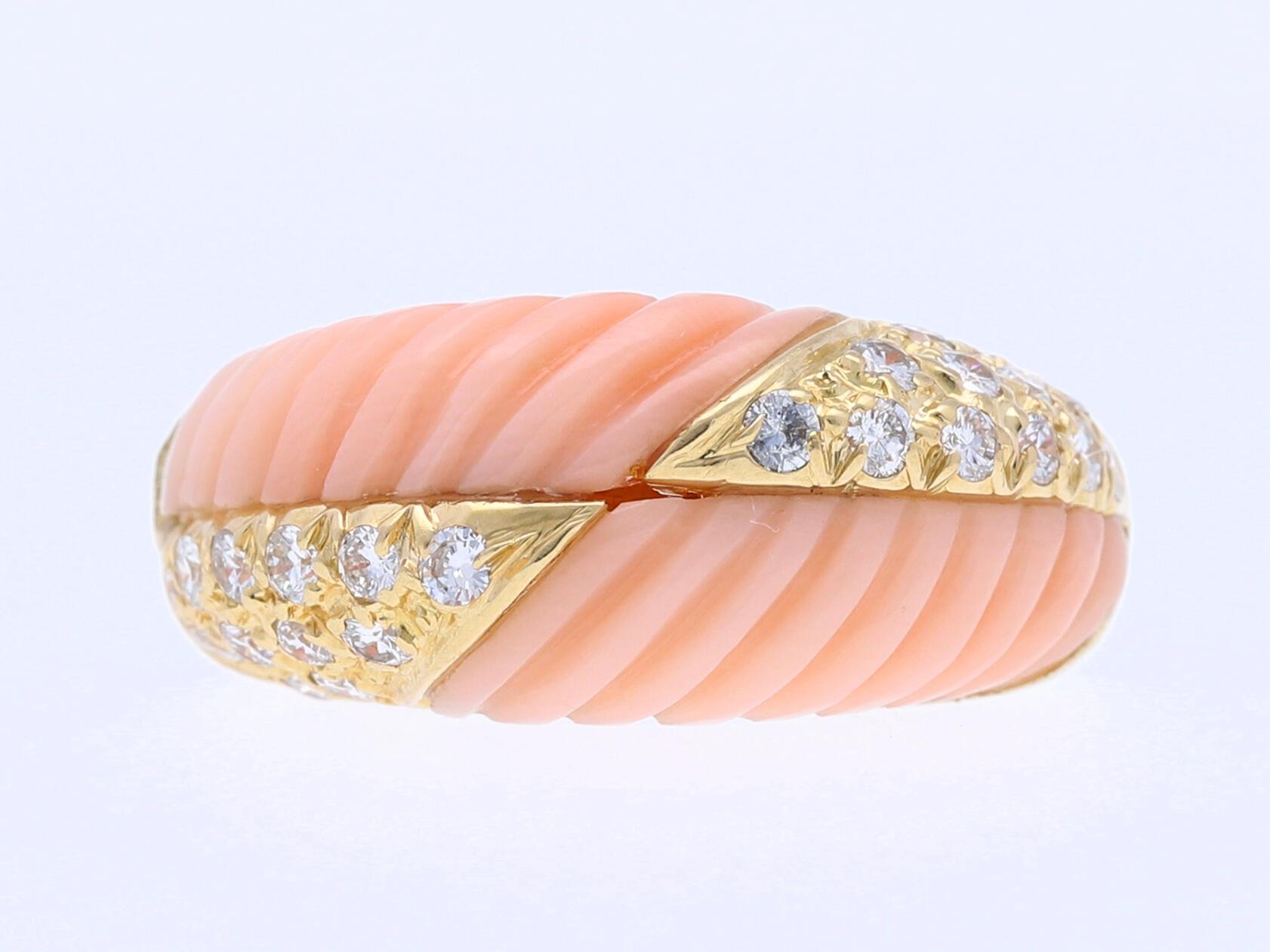wert eur ring brillanten engelshaut koralle 750 gold um 1990 ebay. Black Bedroom Furniture Sets. Home Design Ideas