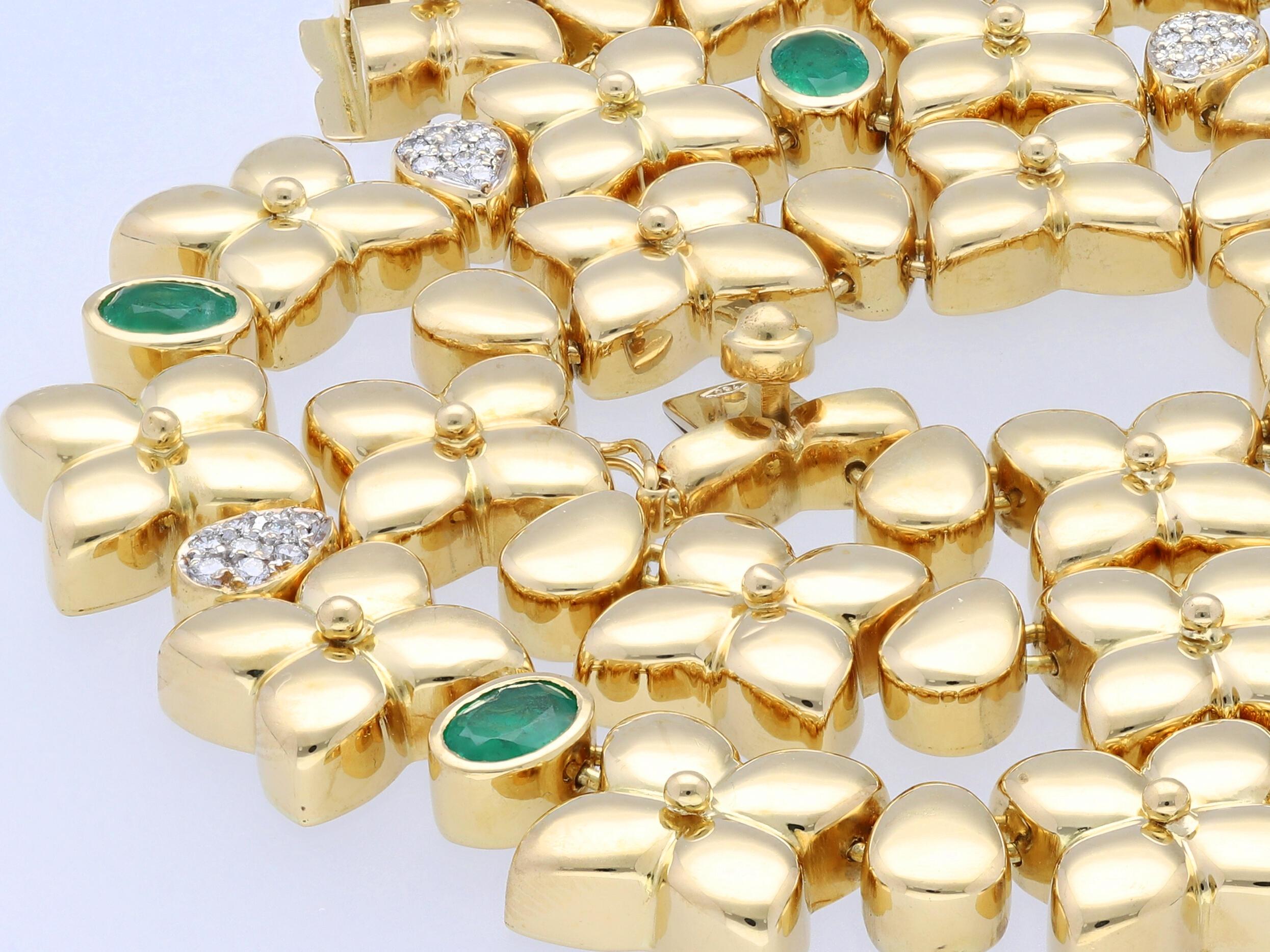 kette collier 4 24 karat brillanten smaragde 750 gold wert ca eur ebay. Black Bedroom Furniture Sets. Home Design Ideas