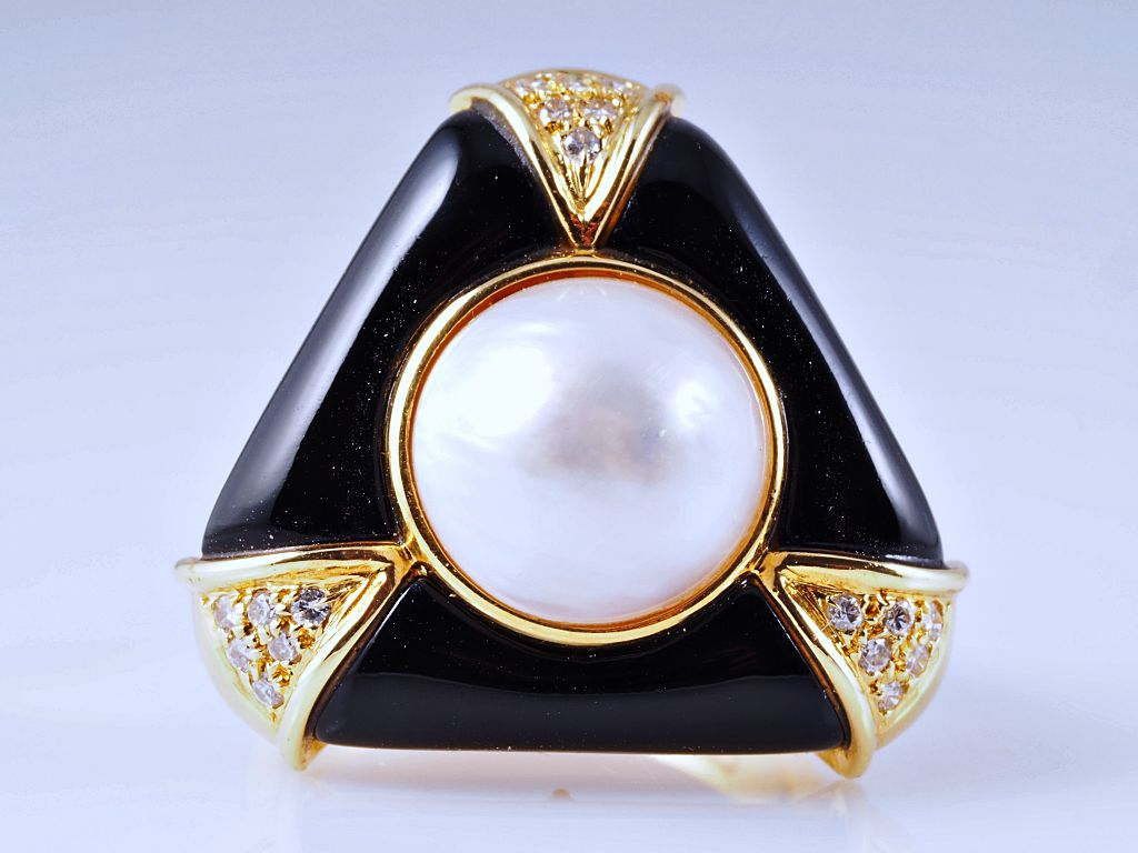 ring brillanten onyx mabe perle 750 gold wert ca. Black Bedroom Furniture Sets. Home Design Ideas